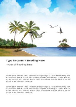 Tropic Island Word Template, Cover Page, 03297, Nature & Environment — PoweredTemplate.com