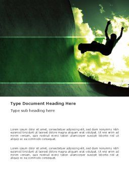 Skateboarder In A Green Colors Word Template, Cover Page, 03310, Sports — PoweredTemplate.com