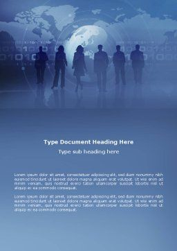 People Silhouettes Word Template, Cover Page, 03312, Global — PoweredTemplate.com
