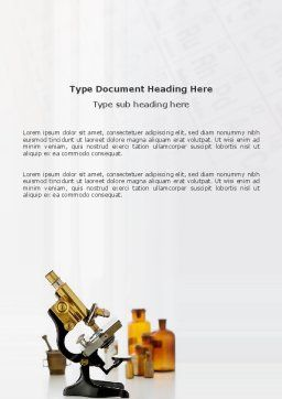 Microscope Word Template, Cover Page, 03316, Medical — PoweredTemplate.com