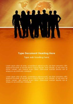 Silhouettes Of People's Word Template, Cover Page, 03317, Consulting — PoweredTemplate.com