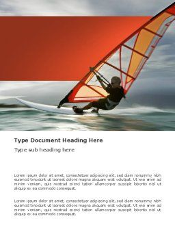 Orange Windsurf In A Gray Sea Word Template, Cover Page, 03325, Sports — PoweredTemplate.com