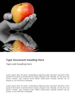 Reflection Of Apple In Hand Word Template, Cover Page, 03326, Business Concepts — PoweredTemplate.com