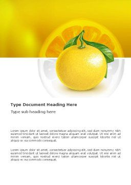 Yellow Citrus Word Template, Cover Page, 03339, Agriculture and Animals — PoweredTemplate.com