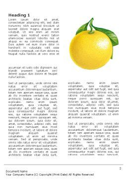 Yellow Citrus Word Template, First Inner Page, 03339, Agriculture and Animals — PoweredTemplate.com