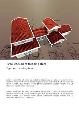 Red Roof Cottage Word Template, Cover Page, 03353, Construction — PoweredTemplate.com