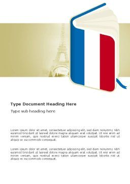 Learning French Word Template, Cover Page, 03361, Flags/International — PoweredTemplate.com