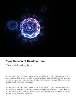 Virus In Dark Blue Word Template, Cover Page, 03362, Medical — PoweredTemplate.com