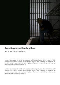Prison Cell With Prisoner Word Template, Cover Page, 03377, Legal — PoweredTemplate.com