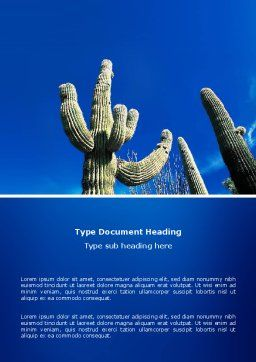 Desert Cactus Word Template Cover Page
