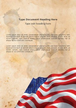 American Stars and Stripes Flag Word Template, Cover Page, 03389, Holiday/Special Occasion — PoweredTemplate.com