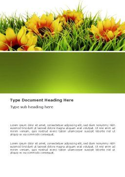 Yellow Flower Word Template, Cover Page, 03401, Agriculture and Animals — PoweredTemplate.com