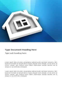 House Icon Word Template, Cover Page, 03410, 3D — PoweredTemplate.com