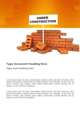 Under Construction Word Template, Cover Page, 03416, Construction — PoweredTemplate.com