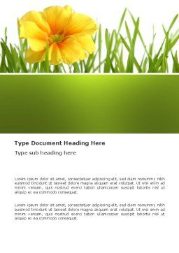 Yellow Flower In A Green Grass Word Template, Cover Page, 03427, Nature & Environment — PoweredTemplate.com