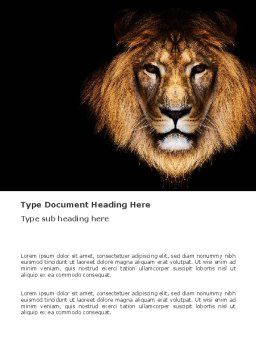 Lion With Red Mane Word Template, Cover Page, 03428, Agriculture and Animals — PoweredTemplate.com
