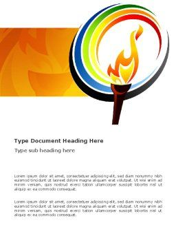 Olympic Fire Word Template, Cover Page, 03430, Sports — PoweredTemplate.com