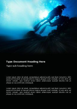 Diving Word Template, Cover Page, 03439, Sports — PoweredTemplate.com