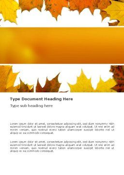 Yellow Leaves Frame Word Template, Cover Page, 03446, Nature & Environment — PoweredTemplate.com
