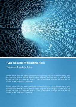 Binary Code Tube Word Template, Cover Page, 03458, Technology, Science & Computers — PoweredTemplate.com