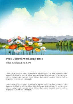 Lake Word Template, Cover Page, 03462, Nature & Environment — PoweredTemplate.com