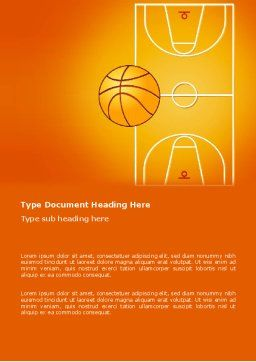 Basketball Field Word Template, Cover Page, 03463, Sports — PoweredTemplate.com