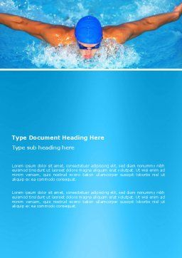Swimming Stroke Word Template, Cover Page, 03464, Sports — PoweredTemplate.com