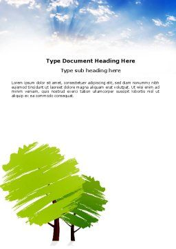 Greenery Word Template, Cover Page, 03479, Nature & Environment — PoweredTemplate.com