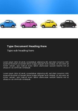 Minicars Word Template, Cover Page, 03491, Cars/Transportation — PoweredTemplate.com