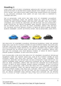 Minicars Word Template, First Inner Page, 03491, Cars/Transportation — PoweredTemplate.com