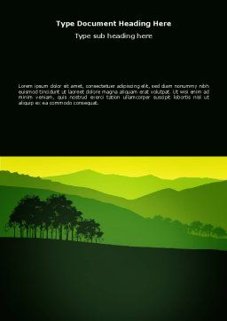 Mountain Landscape Word Template, Cover Page, 03509, Nature & Environment — PoweredTemplate.com