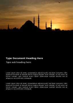 Silhouette Of Mosque On The Sunset Word Template, Cover Page, 03526, Religious/Spiritual — PoweredTemplate.com