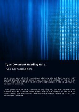Blue Code Word Template, Cover Page, 03529, Technology, Science & Computers — PoweredTemplate.com