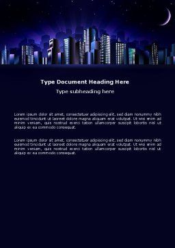 Night City Word Template, Cover Page, 03533, Construction — PoweredTemplate.com
