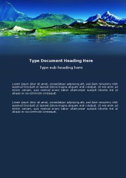 Mountain Lake Word Template, Cover Page, 03534, Nature & Environment — PoweredTemplate.com