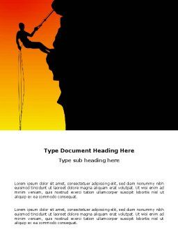 Silhouette Of Rock Climber Word Template, Cover Page, 03535, Consulting — PoweredTemplate.com