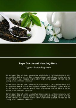 Green Tea Ceremony Word Template, Cover Page, 03551, Food & Beverage — PoweredTemplate.com