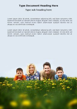 Family Outdoors Word Template, Cover Page, 03581, People — PoweredTemplate.com