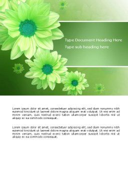 Green Flowers Word Template, Cover Page, 03594, Holiday/Special Occasion — PoweredTemplate.com