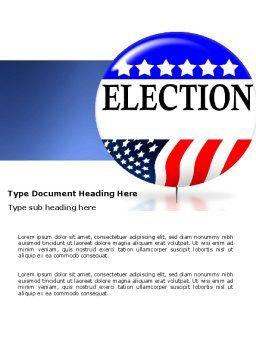USA Elections Word Template Cover Page