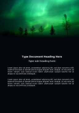 Northern Lights Word Template, Cover Page, 03607, Nature & Environment — PoweredTemplate.com
