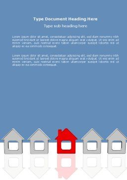 Typical House Of Suburban Icon Word Template, Cover Page, 03620, Construction — PoweredTemplate.com