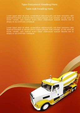 Concrete Mixer Word Template Cover Page