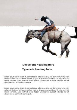 Cowboy On The Wild Mustang Word Template, Cover Page, 03683, America — PoweredTemplate.com