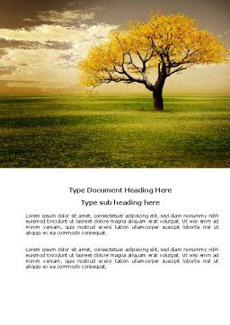 Yellow Tree In The Sunset In The Autumn Word Template, Cover Page, 03692, Nature & Environment — PoweredTemplate.com