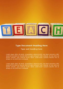 Teaching Word Template, Cover Page, 03696, Education & Training — PoweredTemplate.com