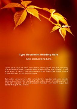 Yellow Leaves On A Yellow Stick Word Template Cover Page