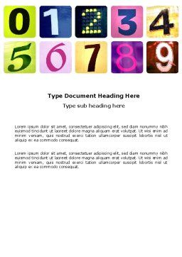 Colored Numbers Word Template, Cover Page, 03705, Education & Training — PoweredTemplate.com