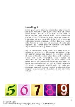 Colored Numbers Word Template Second Inner Page