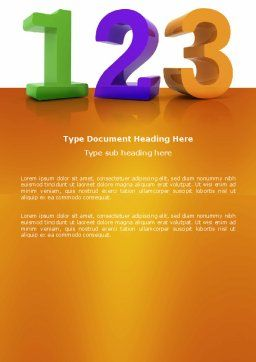 One Two Three Word Template, Cover Page, 03709, 3D — PoweredTemplate.com